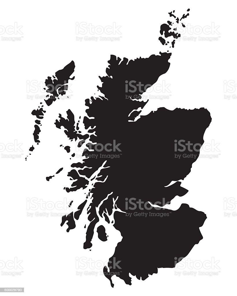 black map of Scotland vector art illustration
