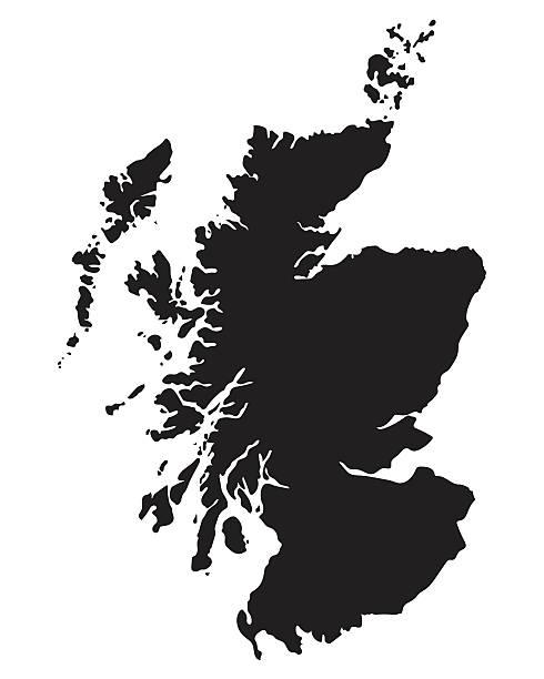 black map of Scotland black vector map of Scotland alba stock illustrations