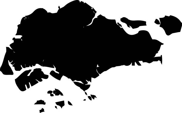 싱가포르의 검은 지도 - 싱가포르 stock illustrations