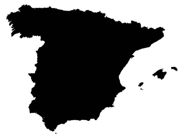schwarze karte von spanien auf weißem hintergrund - alicante stock-grafiken, -clipart, -cartoons und -symbole