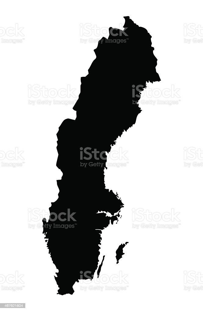 black map of Sweden vector art illustration
