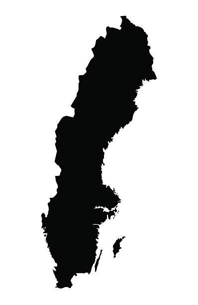 bildbanksillustrationer, clip art samt tecknat material och ikoner med black map of sweden - sweden map