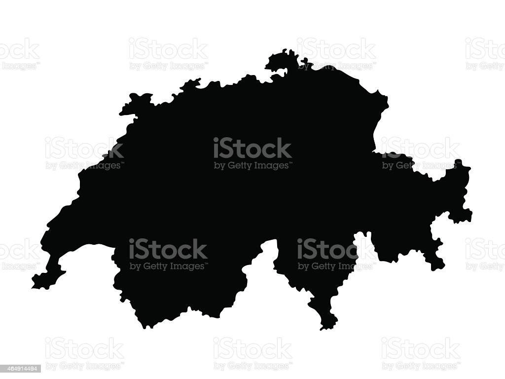 black map of Switzerland vector art illustration