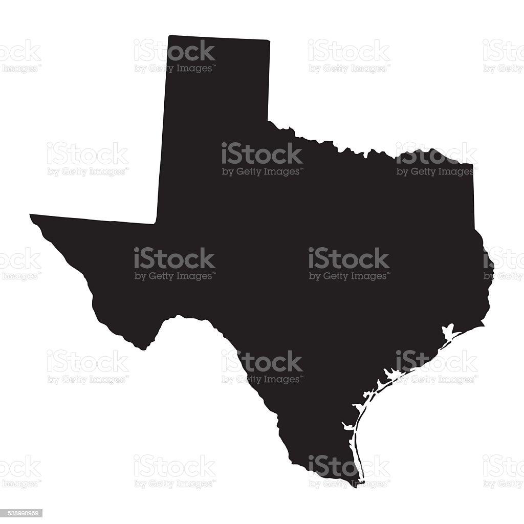 black map of Texas vector art illustration