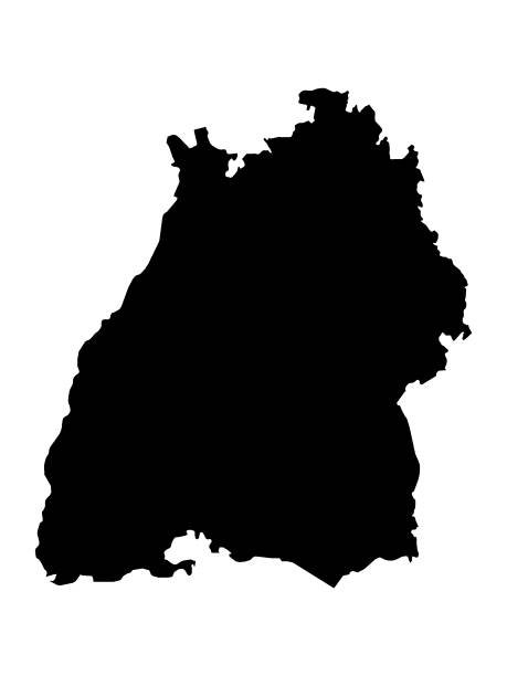 schwarze karte des landes baden-württemberg - kanzlerin stock-grafiken, -clipart, -cartoons und -symbole