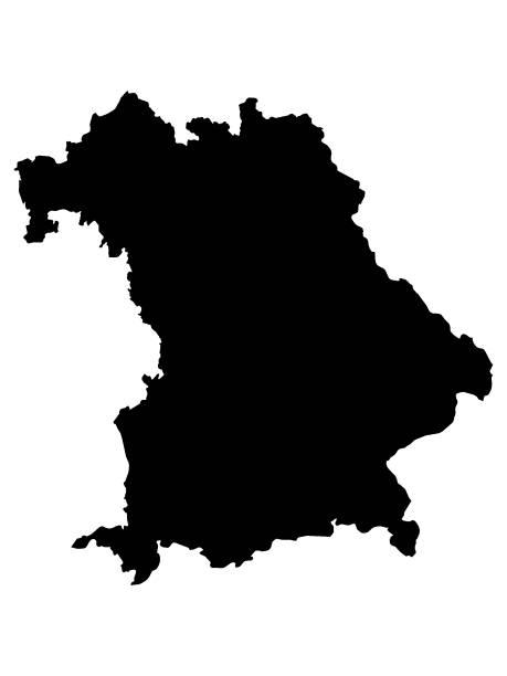 schwarze karte des bundeslandes bayern - kanzlerin stock-grafiken, -clipart, -cartoons und -symbole