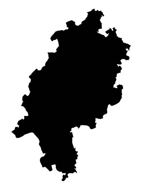 schwarze karte des landes hessen - kanzlerin stock-grafiken, -clipart, -cartoons und -symbole