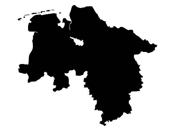 schwarze karte des landes niedersachsen - kanzlerin stock-grafiken, -clipart, -cartoons und -symbole