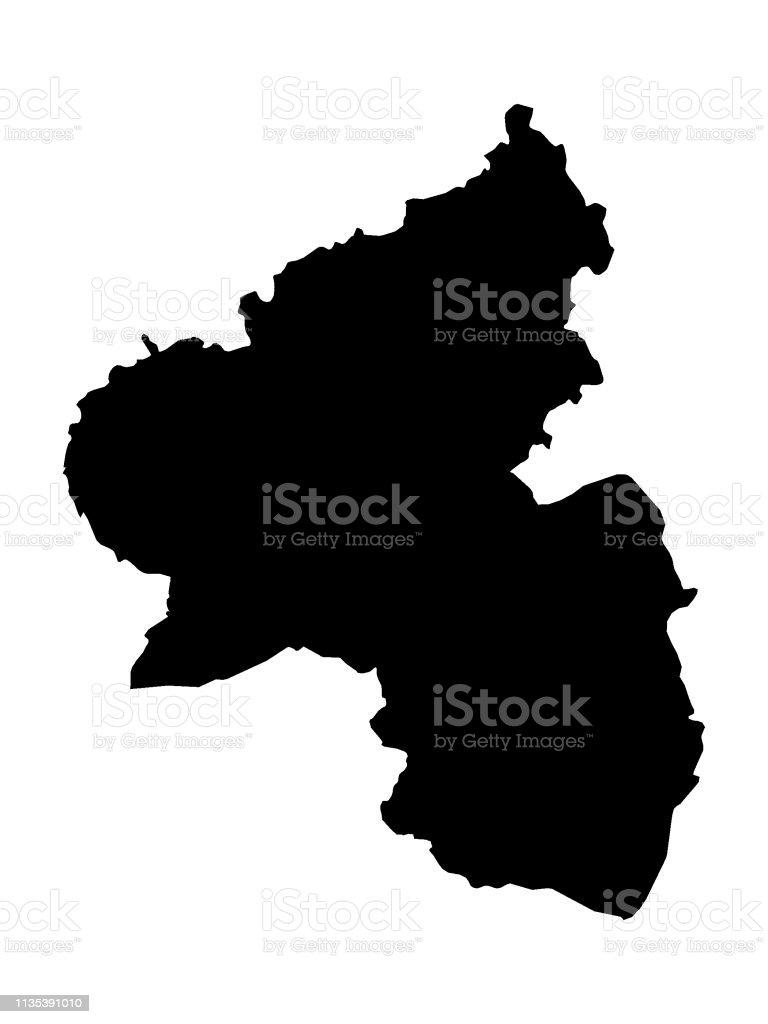 Karte Baden Württemberg Rheinland Pfalz.Schwarze Karte Des Bundeslandes Rheinlandpfalz Stock Vektor Art Und