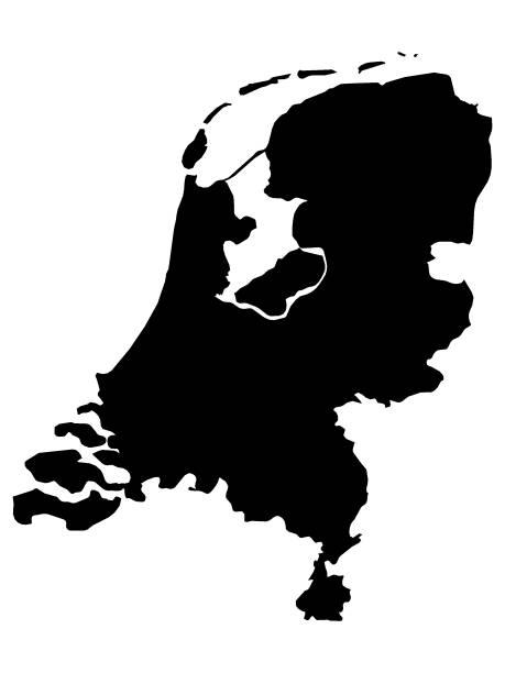 stockillustraties, clipart, cartoons en iconen met zwarte kaart van nederland op witte achtergrond - eindhoven