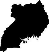 Uganda detailed map with navigation icons