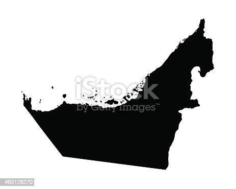 vector black map of United Arab Emirates
