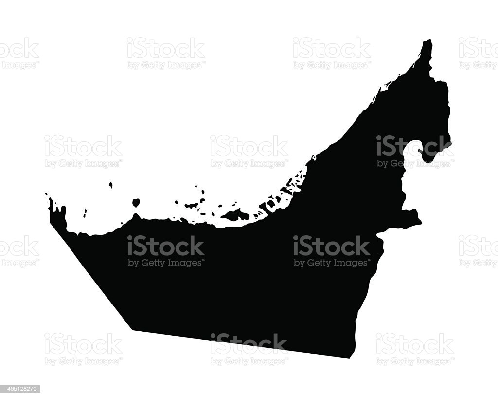black map of United Arab Emirates vector art illustration