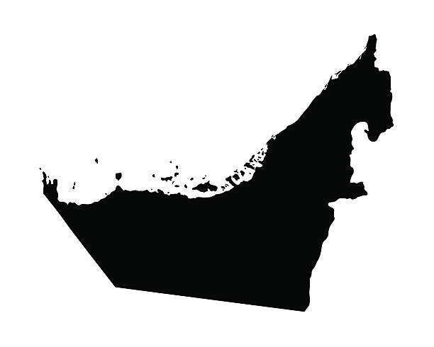 ilustraciones, imágenes clip art, dibujos animados e iconos de stock de negro mapa de los emiratos árabes unidos - mapa de oriente medio