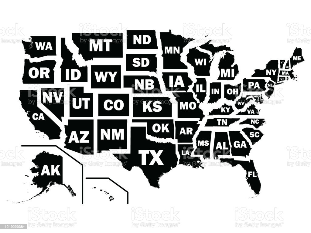 Picture of: Black Map Of Us Federal States With Postal Code Abbreviations Stock Illustration Download Image Now Istock
