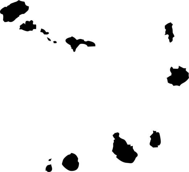 ilustrações de stock, clip art, desenhos animados e ícones de black map ofcape verde - cabo verde