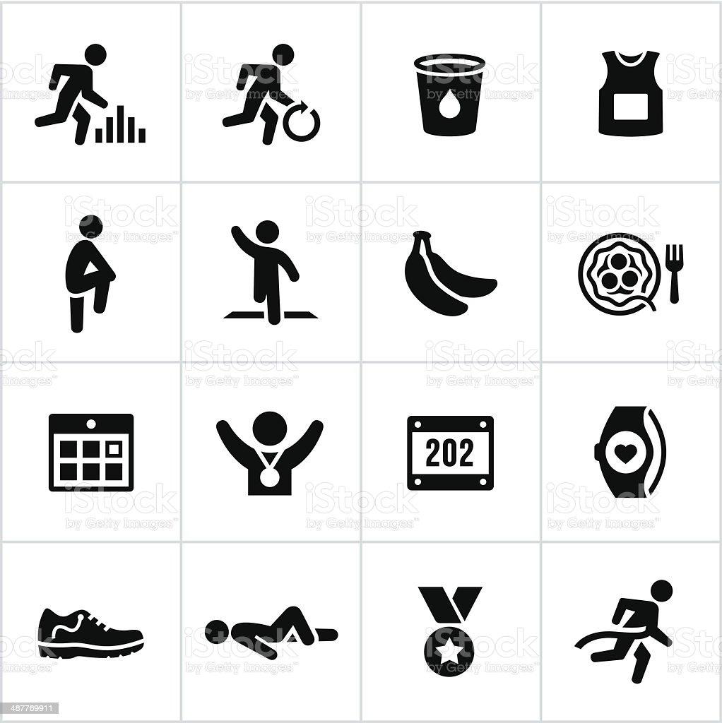 Black Marathon Icons vector art illustration