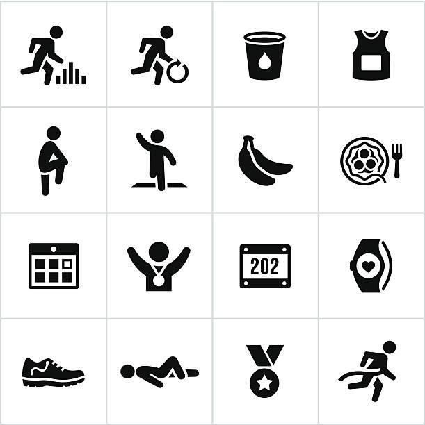black marathon icons - crossing stock illustrations, clip art, cartoons, & icons