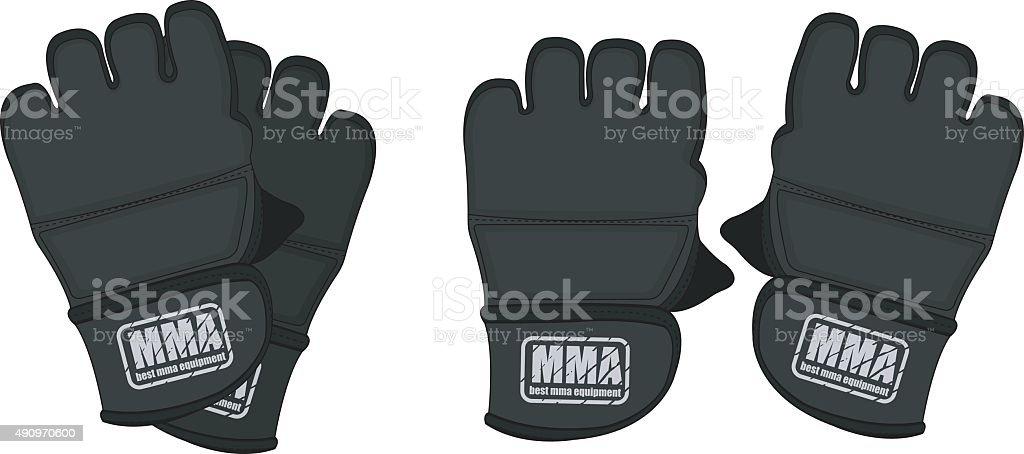 Black martial arts gloves vector art illustration