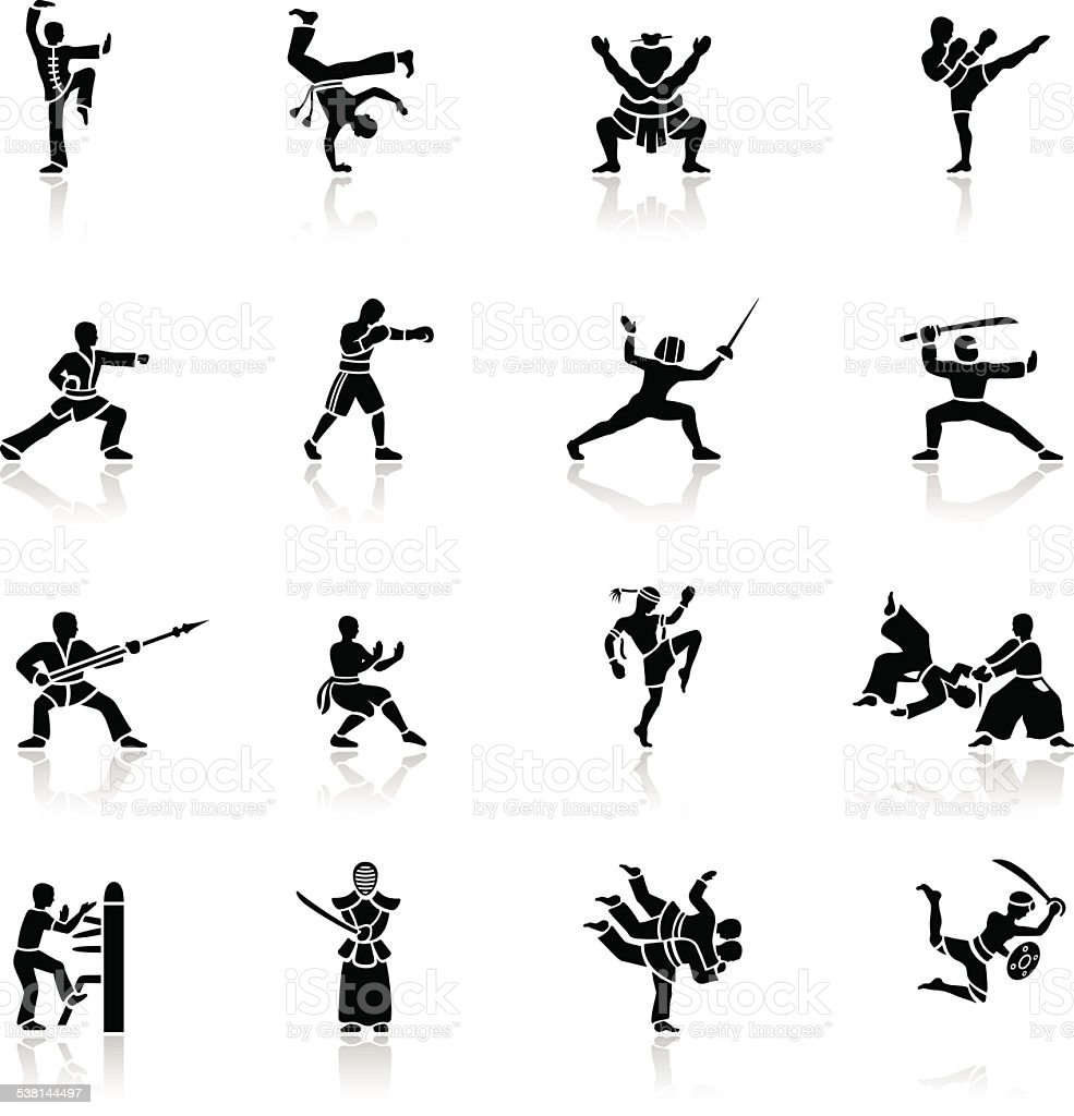 ブラックの武術のアイコン ベクターアートイラスト