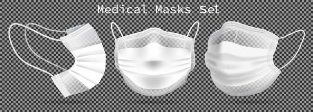 black mask front - covid mask stock illustrations