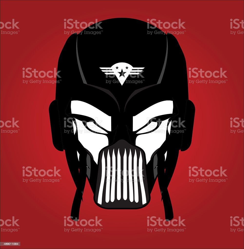 Black Mask. Racer. Rider. Pilot. Superhero. Villain vector art illustration