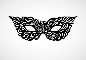 Black masquerade mask isolated on white background