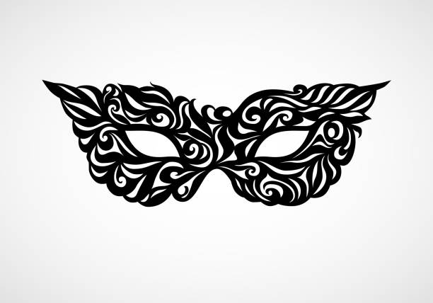 black masquerade mask isolated on white background - mardi gras stock illustrations, clip art, cartoons, & icons