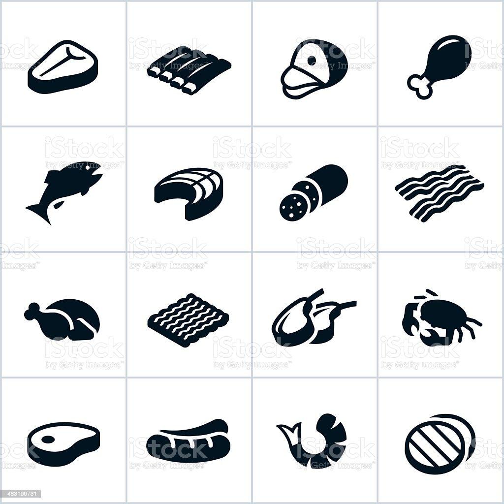 Preto carne ícones - ilustração de arte em vetor