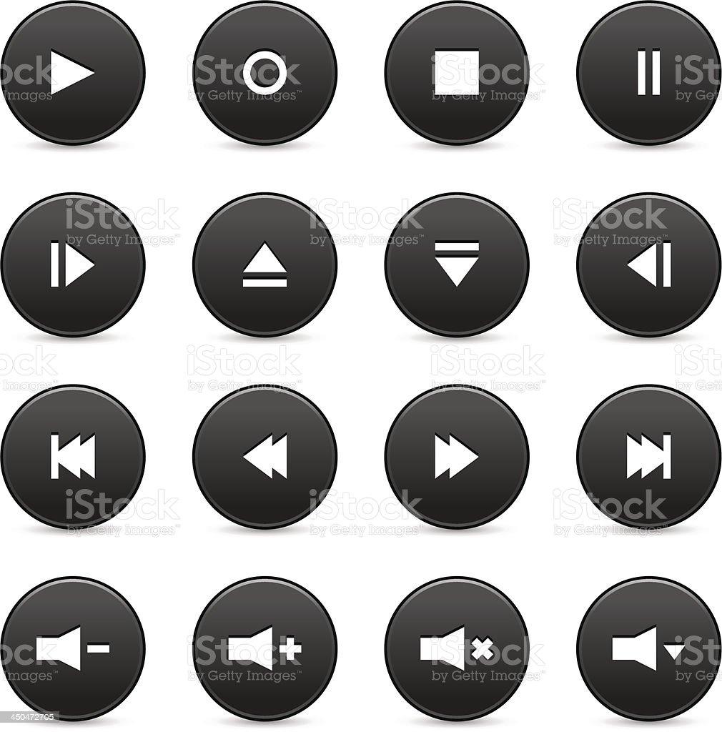 Noir Joueur de médias audio-vidéo de bouton icône de cercle - Illustration vectorielle