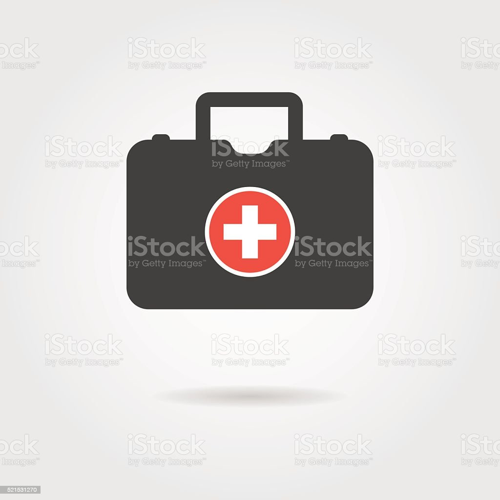 black medical case with shadow vector art illustration