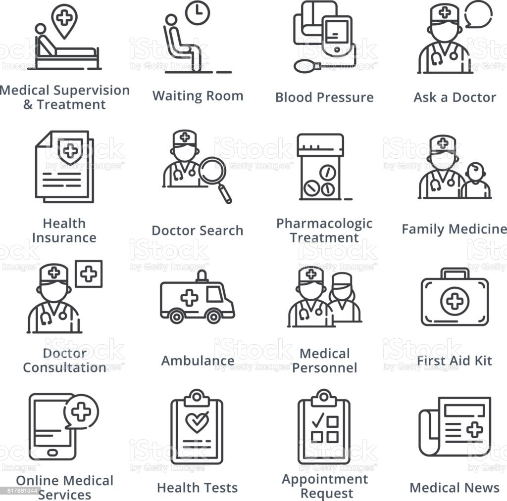 Black Medical & Health Care Icons Set 2 - Outline Series vector art illustration