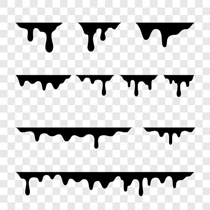 Black melt drips or liquid paint drops isolated on transparent background. Vector oil leak splash or chocolate syrup borders