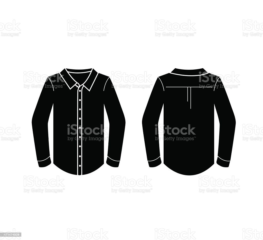 Black Mens Longsleeved Shirt Template In Front And Back Views Stock