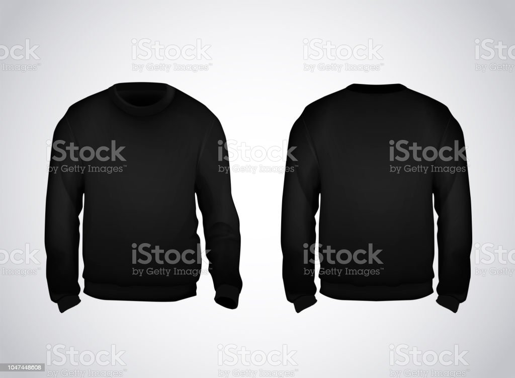 Black Mens Sweatshirt Template Front And Back View Hoodie For Branding Or Advertising Royalty