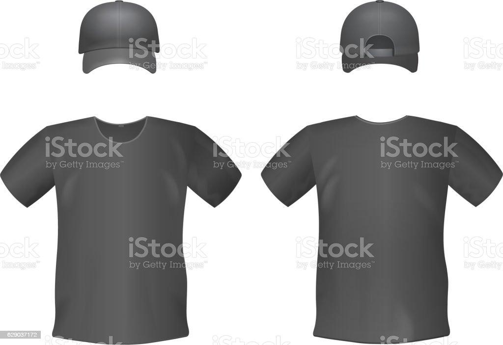 black mens tshirts and baseball cap template のイラスト素材