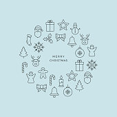 black merry christmas circle line icons blue background