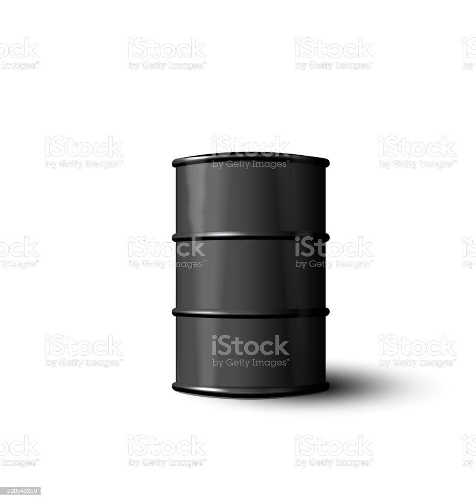 Black Metal Barrel of Oil Isolated on White Background vector art illustration