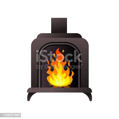 Black metal material fireplace with pipe with burning fire at underground. Cartoon style. Vector illustration on white background