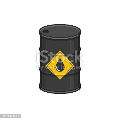 Black metal oil barrel in flat style. Steel keg isolated on white background. Oil icon. Vector illustration EPS 10.