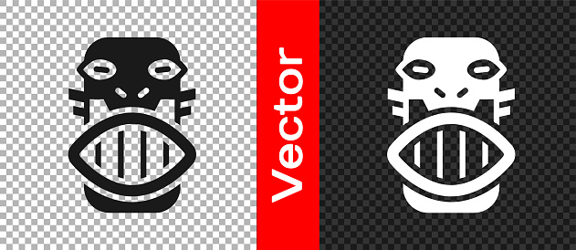 Black Mexican mayan or aztec mask icon isolated on transparent background. Vector