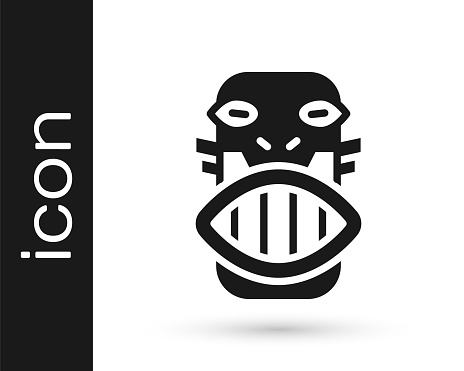 Black Mexican mayan or aztec mask icon isolated on white background. Vector