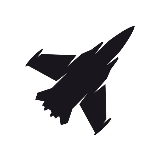 Black military aircraft symbol. Fighter jet, aircraft icon or sign concept. Black military aircraft symbol. Fighter jet, aircraft icon or sign concept. Isolated on a white background. fighter plane stock illustrations
