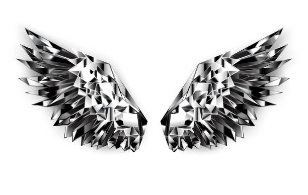 Black mirror wings Polygonal wings of shiny, faceted, black mirror on white background. aircraft wing stock illustrations