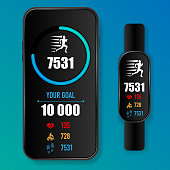 Black custom made mobile phone and hand band with run application screen isolated on blue background. Healthy app with heart rate, calories burn and steps count