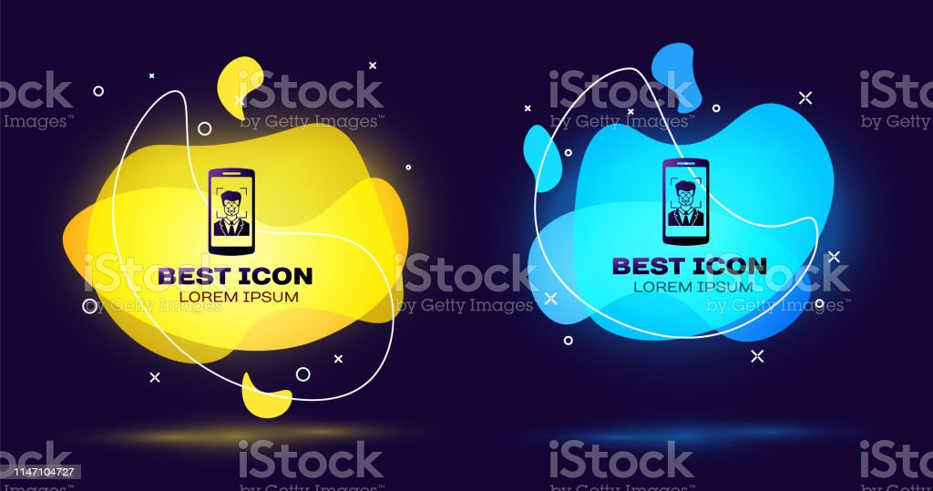 Black Mobile Phone And Face Recognition Icon Isolated Face