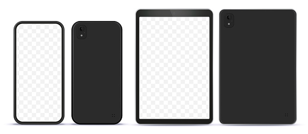 Black Mobile Phone and Tablet Computer Mock-Up With Front and Back Side View.