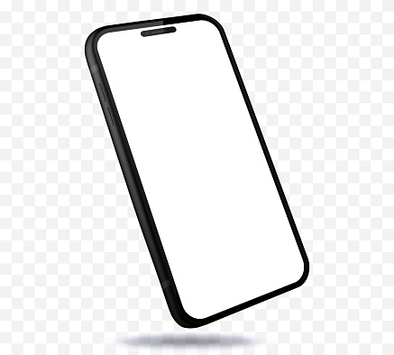 Black Mobile Phone Vector Mockup With Perspective View. Smartphone Isolated on Transparent Background.