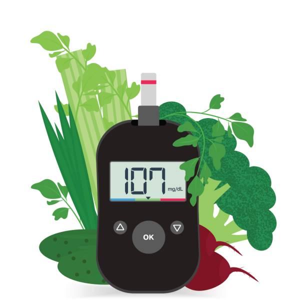 black modern glucose meter and vegetables. - vegetable blood stock illustrations, clip art, cartoons, & icons