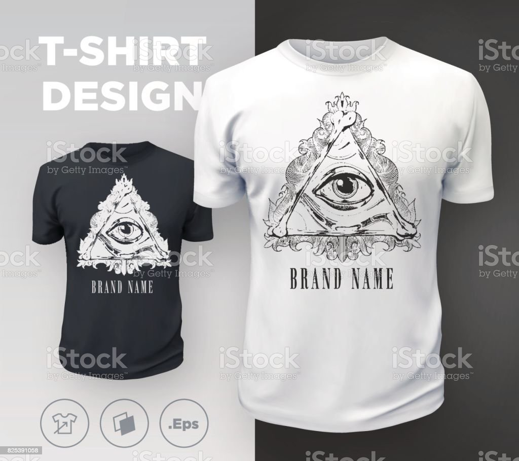 Black Modern Tshirt Print Design With Allseeing Eye Stock Vector Art